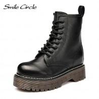 2655.14 руб. 53% СКИДКА|Smile Circle Size36 41/женские мотоциклетные ботинки на не сужающемся книзу массивном каблуке, сезон осень 2018, модные армейские ботинки с круглым носком на шнуровке, женская обувь купить на AliExpress