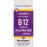 Superior Source, Extra Strength B-12, B-6 & Folic Acid, 10,000 mcg / 1,200 mcg, 60 MicroLingual Instant Dissolve Tablets - Витамины для сна и мозговой активности