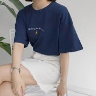 627.1 руб. 20% СКИДКА|2019 Новая Милая футболка с коротким рукавом и вышивкой Луны женская летняя повседневная Универсальная футболка Femme Harajuku топы-in Футболки from Женская одежда on Aliexpress.com | Alibaba Group