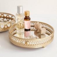 Металлический лоток для хранения ювелирных изделий золотого цвета, стеклянная зеркальная основа, Настольная Косметическая декоративная т... - Хранение украшений