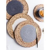 Круглый коврик для столового стола, коврик для кофейной чашки, микс из хлопка и льна, подставки для оплетки, защита рук для украшения обеденн... - Подставки под напитки