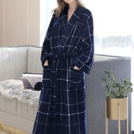 Plus Size Flannel Long Sleeve Nightgown Robes