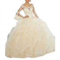 € 132.58 25% de DESCUENTO|De manga larga de las mujeres vestidos de baile barato con cuentas de encaje volantes vestido de fiesta champagne vestido de Quinceanera 15 años vestido de baile chica en Vestidos de quinceañera de Bodas y eventos en AliExpress.com | Alibaba Group