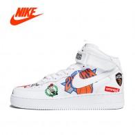 5153.95 руб. 50% СКИДКА|Оригинальные аутентичные Nike Air Force AF1 Для мужчин Скейтбординг обувь Спорт на открытом воздухе кроссовки с высоким берцем Брендовая Дизайнерская обувь AQ8017 купить на AliExpress