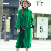 US $59.4 40% OFF|Nerazzurri Long Faux Fur Coat Women 2017 Winter Solid Color Long Sleeve Stand Collar Loose Green Outerwear Plus Size 5XL 6XL 7XL-in Faux Fur from Women