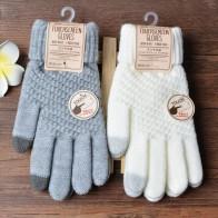 US $1.2 26% OFF|Winter Touch Screen Gloves Women Men Warm Stretch Knit Mittens Imitation Wool Full Finger Guantes Female Crochet Luvas Thicken-in Men