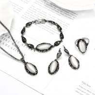 Элегантный Vintage Opal камень комплект ювелирных кулон Цепочки и ожерелья комплект старинное серебро 4 шт. Jewelry Детский костюм для вечеринок комплекты ювелирных изделий купить на AliExpress
