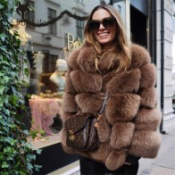 US $239.19 49% OFF|Furealux Real Fox Fur Coat Women Winter Thick Fur Coat Real Fox Fur Jacket Overcoat Female Ladies Stand Collar Furs Jacket-in Real Fur from Women