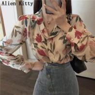 Винтажная Свободная рубашка Alien Kitty, простая, с новым принтом, универсальная, элегантная, повседневная, однобортная, 2 вида цветов, лето 2019