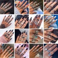 € 0.7 30% de DESCUENTO|HuaTang bohemio antiguo anillo de plata geométrico elefante flor verde diamantes de imitación nudillos anillos Midi dedo Anel anillos joyería-in Anillos from Joyería y accesorios on Aliexpress.com | Alibaba Group