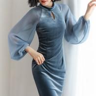 1532.71 руб. 25% СКИДКА|Новинка 2018, осеннее платье, Брендовое модное дизайнерское бархатное платье, шифоновое платье с рукавами фонариками, Золотое бархатное платье купить на AliExpress