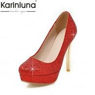 3291.76 руб. |KARINLUNA/Новинка, большие размеры 34 43, обувь на платформе с круглым носком женские пикантные вечерние свадебные туфли лодочки с блестками на высоком каблуке, красного, черного, серебристого цвета-in Женские туфли from Туфли on Aliexpress.com | Alibaba Group