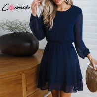 US $17.99 55% OFF|Conmoto Vintage Party Women Dress Casual Elegant Long Sleeve Polka Dot Dress Solid Short Summer Chiffon Dress Vestidos-in Dresses from Women