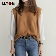 LLYGE Spring Autumn Women Wool Sweater Vest 2018 Fashion Sleeveless Solid Knitted Vests Female Casual Korean Tank Tops Pullovers-in Vests from Women