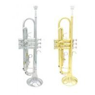 Bb Труба B высшего качества, плоская прочная Латунная Труба с посеребренным мундштуком, пара перчаток и изысканная сумка для концертов - Собираем группу
