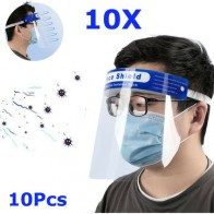 10Pcs Transparent Adjustable Full Face Shield Plastic Anti-fog Anti-spit Protective Mask