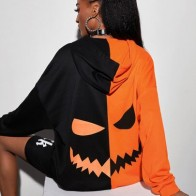 Halloween Print Color Block Drawstring Hoodie - For women