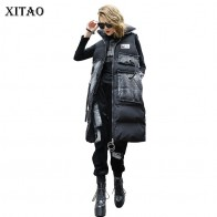 US $72.0 |[XITAO] 2018 Autumn Korea Fashion New Arrival  Women Pocket Coat Female Print Patchwork Sleeveless Pocket Parka  LYH1437-in Parkas from Women