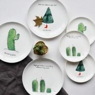 Обеденные тарелки с рисунком кактуса, 8 * дюймов, костяная китайская тарелка для торта, фарфоровая Кондитерская тарелка, поддон для фруктов, ... - Кактусы