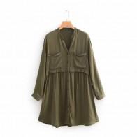 € 15.37 |De las mujeres de la moda bolsillo de parche decoración camisero cuello en v mini vestido casual de manga larga dama vestidos de mujer, vestido D2231-in Vestidos from Ropa de mujer on Aliexpress.com | Alibaba Group