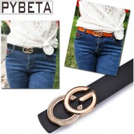US $8.49 15% OFF|[PYBETA] 2018 Fashion Luxury Belts For Women Jeans Crystal decorative Gilded Double Letter C & G Solid Buckle Cowskin WaistBands-in Belts & Cummerbunds from Women