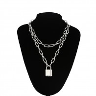US $2.51 |Double layer Lock Chain necklace punk 90s link chain silver color padlock pendant necklace women fashion gothic  jewelry-in Choker Necklaces from Jewelry & Accessories on AliExpress - 11.11_Double 11_Singles