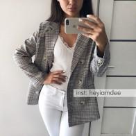 1433.36 руб. 44% СКИДКА|Повседневный клетчатый женский Блейзер Куртка с зубчатым воротником двубортный женский костюм пальто модный Блейзер женсткая куртка-in Пиджаки from Женская одежда on Aliexpress.com | Alibaba Group
