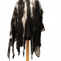 Tribal poncho for men, Black and white wool wrap, Nuno felt scarf, Faux fur felted scarf, Oversized merino wool wrap.
