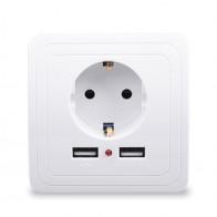 € 1.43 5% de DESCUENTO|Hogar Inteligente mejor puerto USB Dual 2400mA adaptador de cargador de pared de 16A estándar de la UE eléctrico enchufe de Panel 110 ~ 250 V en Enchufes eléctricos de Mejoras para el hogar en AliExpress.com | Alibaba Group