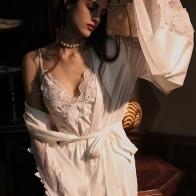 Black White 3PCS/Set Sexy Long Sleeve Nightgown Women Underwear Set + Robe Sleepwear Erotic Lingerie Nightgowns Bathrobe
