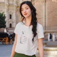 1033.17 руб. 48% СКИДКА|INMAN 2019 Летняя женская рубашка, универсальная футболка для женщин, круглый воротник, свежий стиль, вышивка, женские топы-in Футболки from Женская одежда on Aliexpress.com | Alibaba Group
