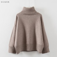 US $20.99 16% OFF|Thick High Neck Sweater Women  Winter Solid Warm Pullovers Side Vent Slit Loose Jumper Female Oversize Turtleneck Sweater-in Pullovers from Women