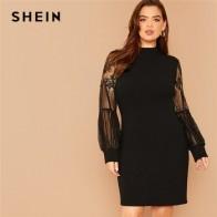 Женское кружевное платье SHEIN, однотонное черное платье большого размера плюс с ложным вырезом и рукавами-фонариками, Элегантные короткие пл... - Плюс-сайз платья