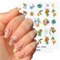 Геометрические Водные Наклейки для ногтей Harunouta, наклейки для лица, Слайдеры для ногтевого дизайна, фрукты, цветы, летние листья, украшения д... - Для красоты и здоровья