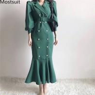 Корейское винтажное двубортное длинное платье для женщин с рукавами фонариками и зубчатым воротником, платье русалки с поясом, Vestido Mujer, весна 2020 on AliExpress
