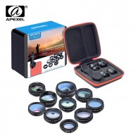 US $15.0 |APEXEL Phone lens kit universal 10 in 1 Fisheye Wide Angle macro Lens CPL Filter Kaleidoscope+2X telescope Lens for smartphone-in Mobile Phone Lenses from Cellphones & Telecommunications on Aliexpress.com | Alibaba Group