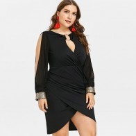US $14.99 45% OFF|Rosegal Plus Size Keyhole Neck Sequined Slit Bodycon Dress 2018 Autumn Women Clothing Party Dresses OL Club Dress Vestidos 5XL-in Dresses from Women