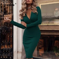 ELSVIOS XXL глубокий v образный вырез с запахом Ruched Bodycon Платье женское весеннее с длинным рукавом офисные платья Элегантное коктейльное платье Вечерние для ночного клуба купить на AliExpress