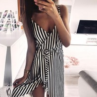 US $4.2 40% OFF|KANCOOLD dress Women Stripe Printing Sleeveless Off Shoulder Dress Evening Party Vest Empire Sashes dress women 2018AUG1-in Dresses from Women