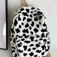 Бархатный классический рюкзак с коровьим узором
