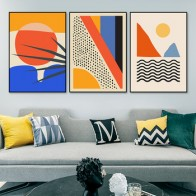 Геометрическая абстрактная сцена Скандинавия Холст Живопись Настенные рисунки плакат картина для галерея Декор интерьера гостиной - Плакаты и постеры