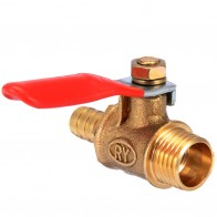 1/4 дюймов наружный резьбовой латунный шаровой клапан Barb шланг металлический шаровой клапан с красной рычажной ручкой домашний инструмент улучшения купить на AliExpress