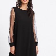Модное Платье С Сетчатыми Рукавами С Бусинами