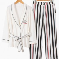 Cotton Kimono Stripe Printed Long Sleeve Casual Pajama Set