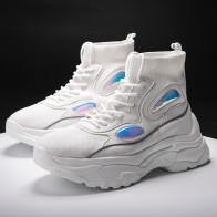 1697.0 руб. 40% СКИДКА|Женские Сникеры на платформе на плоской подошве; модные повседневные ботинки с массивным каблуком, увеличивающие рост 5 см; цвет черный, белый; Осенняя женская обувь купить на AliExpress