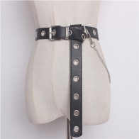 US $5.77 45% OFF|Newest Design Detachable Waist Belt Chain Punk Hip hop Trendy Women Belts Lady Fashion silver Pin Buckle leather Waistband Jeans-in Women