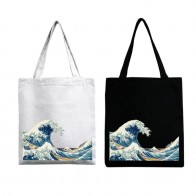 Women Casual Canvas Printing Sea Wave Handbag Lady Lightweight Travel Shoulder Bag Female Large Capacity Shopping Tote Purse