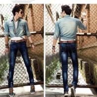 3959.54 руб. 20% СКИДКА|Костюмы джинсы мужской личности мужские тонкие эластичные узкие осенние и зимние толстые купить на AliExpress