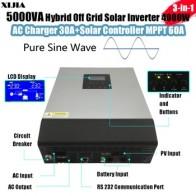 Гибридный инвертор синусоидальной волны 5000VA /3000VA с зарядным устройством переменного тока + MPPT/pwmpolar контроллер постоянного тока 48В к перемен...