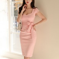 1218.07 руб. 5% СКИДКА|Короткий стиль 2019, женское элегантное розовое однотонное платье с коротким рукавом, квадратным воротником, облегающее вечернее платье, летнее-in Платья from Женская одежда on Aliexpress.com | Alibaba Group